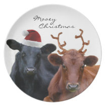 Christmas Holiday Cows in Santa Hat and Antlers Plate