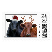 Christmas Holiday Cows in Santa Hat and Antlers Postage