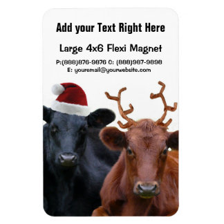 Christmas Holiday Cows in Santa Hat and Antlers Rectangle Magnet