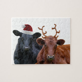 Christmas Holiday Cows in Santa Hat and Antlers Puzzle