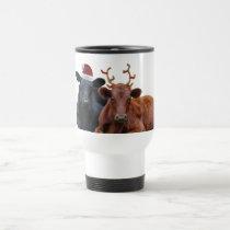 Christmas Holiday Cows in Santa Hat and Antlers Travel Mug