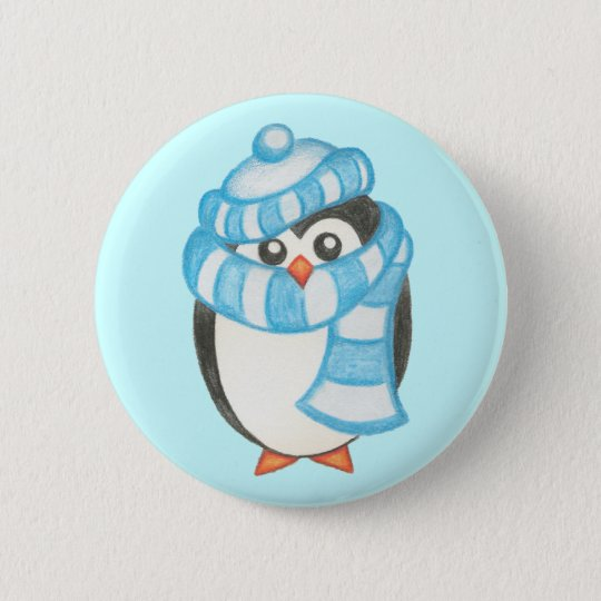 Christmas Holiday Cute Penguin Button