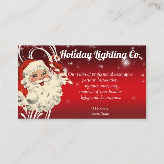 Christmas Business Decorations.Christmas Holiday Decorating Company Business Card