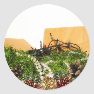 Christmas Holiday Decorations in Box Classic Round Sticker