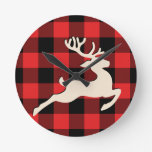 Christmas Holiday Deer Antlers Red Black Gingham Round Clock