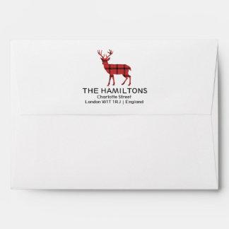 Christmas Holiday Deer Red Plaid Tartan Pattern Envelope