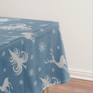 Christmas Holiday Deer Stag Pattern Blue Silver Tablecloth