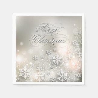 Christmas Holiday Elegant Snowflake Napkin Standard Cocktail Napkin