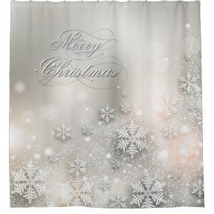Christmas Holiday Elegant Snowflake Shower Curtain