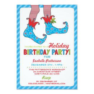 Christmas Holiday Elf Birthday Party Invitation at Zazzle