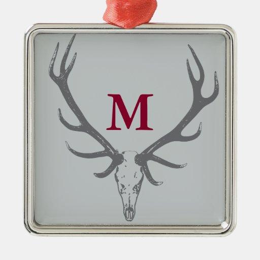Christmas holiday elk custom monogram square metal