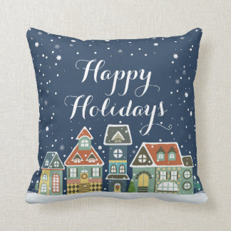 Christmas Holiday Evening Winter Village Scene Pillows