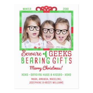 Christmas Holiday Family Photo | Funny Geeks Postcard