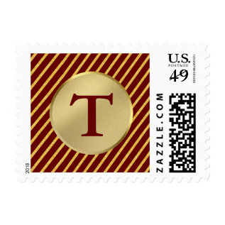 Christmas Holiday Faux Gold Foil Stripes Monogram Postage at Zazzle