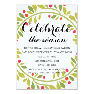 Christmas Holiday Floral Wreath Family Party Card