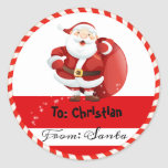 "Christmas Holiday From Santa To Classic Round Sticker<br><div class=""desc"">Christmas Holiday From Santa To stickers</div>"