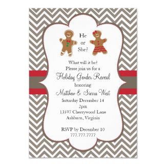 Christmas Holiday Gender Reveal Baby Shower 4.5x6.25 Paper Invitation Card