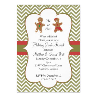 Christmas Holiday Gender Reveal Baby Shower Card