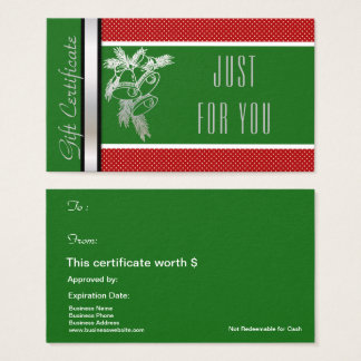 Christmas Holiday Gift Card Certificate Green Red