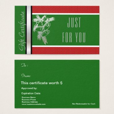 Professional Business Christmas Holiday Gift Card Certificate Green Red