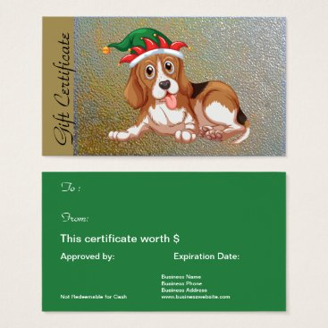 Professional Business Christmas Holiday Gift Certificate for Dog Lovers