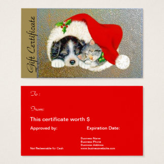 Christmas Holiday Gift Certificate for Pet Lovers