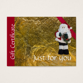 Christmas Holiday Gift Certificate Gold Red Santa