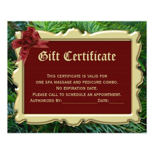 Christmas holiday gift certificate printing 2 side flyer zazzle for Zazzle gift certificate
