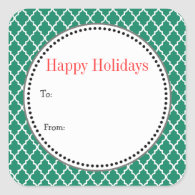 Christmas, holiday gift stickers. Green quatrefoil Square Sticker