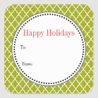 Christmas, holiday gift stickers. lime quatrefoil square sticker