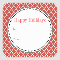 Christmas, holiday gift stickers. red quatrefoil sticker