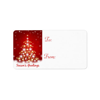 Christmas Holiday Gift Tag Labels - Star Tree Custom Address Label