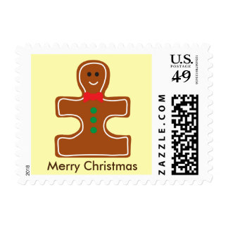 Christmas Holiday Ginger Man Autism Awareness Postage