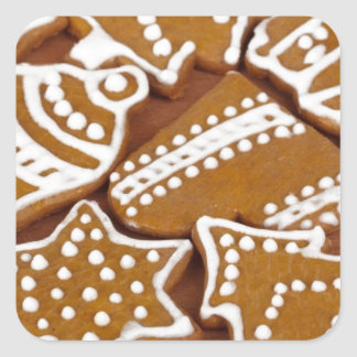 Christmas Holiday Gingerbread Cookies Square Sticker