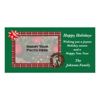 Christmas Holiday Girl Elf Wreath Photo Card