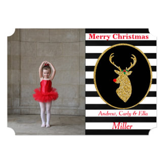 Christmas Holiday Gold Reindeer Photo Cards