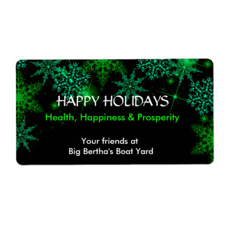 Christmas Holiday Green and White Wine Label