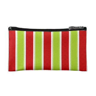 Christmas Holiday Green & Red Stripes Pattern Makeup Bag
