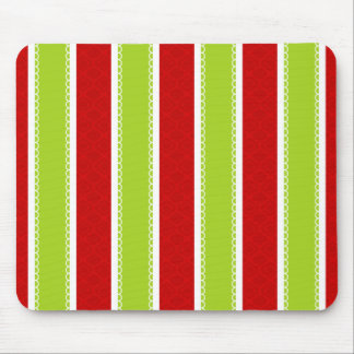Christmas Holiday Green & Red Stripes Pattern Mouse Pad