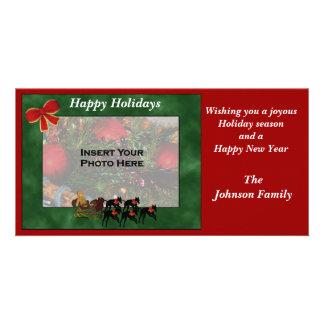 Christmas Holiday Greyhounds Sleigh Photo Card