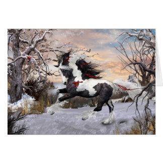 Christmas Holiday Gypsy Vanner Horse Card
