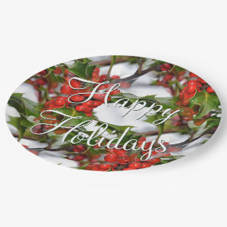 Christmas Holiday Holly Leaves Red Berries Pattern Paper Plate