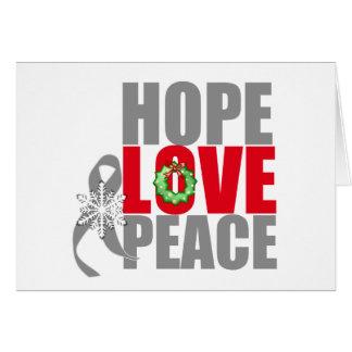 Christmas Holiday Hope Love Peace Brain Cancer Greeting Card