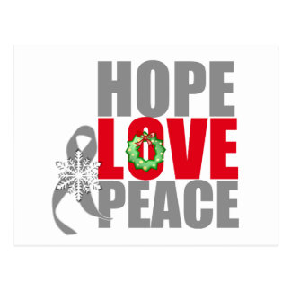 Christmas Holiday Hope Love Peace Brain Cancer Postcard