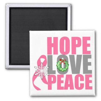 Christmas Holiday Hope Love Peace Breast Cancer 2 Inch Square Magnet