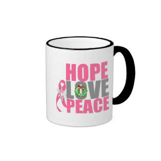 Christmas Holiday Hope Love Peace Breast Cancer Mugs
