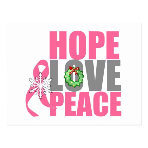 Christmas Holiday Hope Love Peace Breast Cancer Postcard