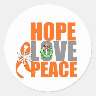 Christmas Holiday Hope Love Peace Leukemia Classic Round Sticker