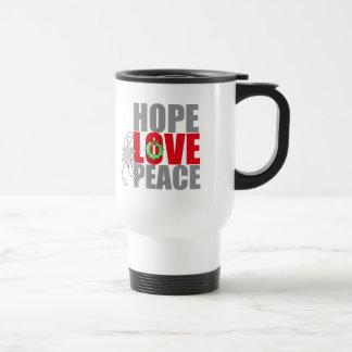 Christmas Holiday Hope Love Peace Lung Cancer Travel Mug