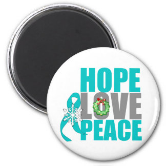 Christmas Holiday Hope Love Peace Ovarian Cancer 2 Inch Round Magnet
